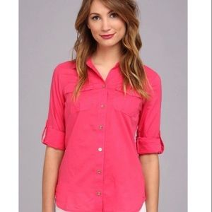 Lilly Pulitzer Pink Cruiser Camp Button Down Top